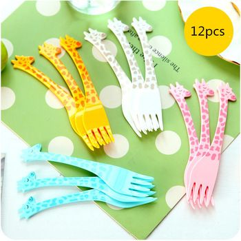 New 12pcs/Pack Cartoon Plastic Giraffe Tableware Food Fruit Fork Picks Set for Party D