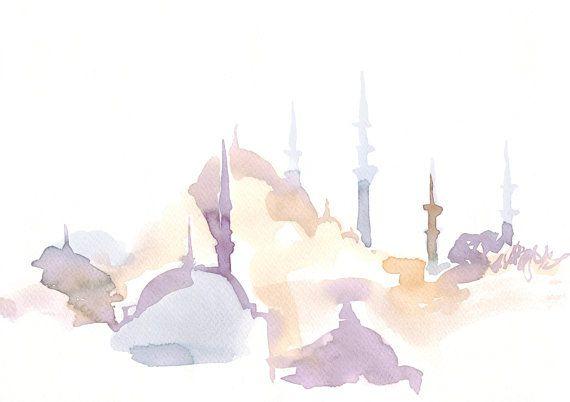 Ilustración de viajes de acuarela, Hagia Sofia, Acuarela, Arte abstracto, Illustrati …