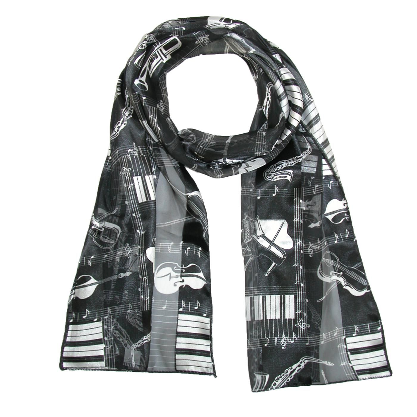 CTM® Womens Musical Instrument Print Scarf. Musical notes and instrument print design