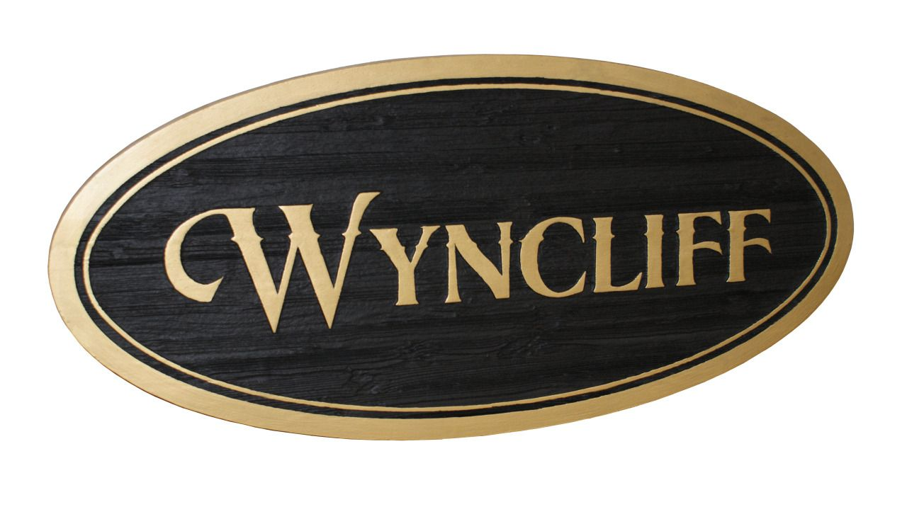 cedar signs for wyncliff entryway oval hanging wooden sign by