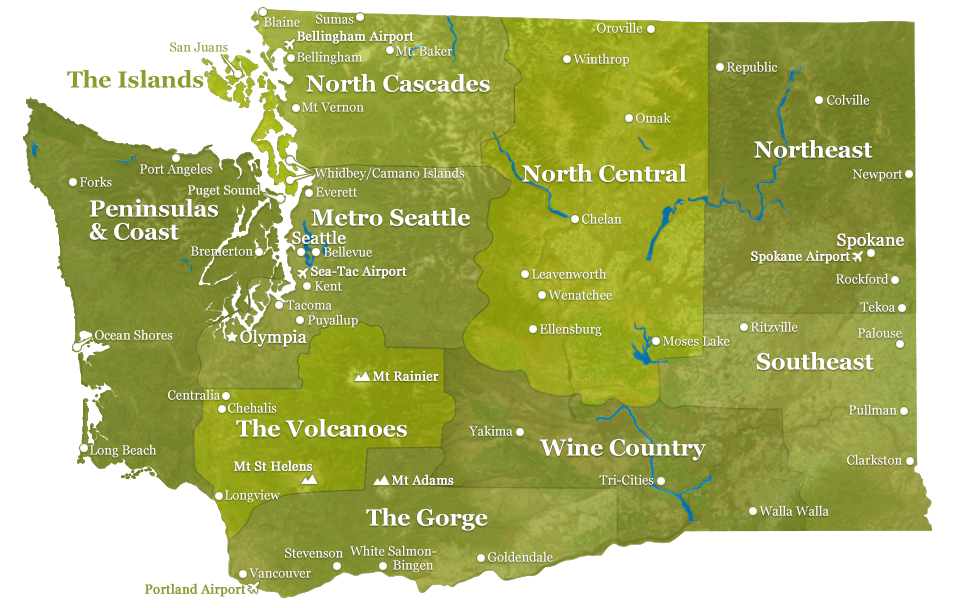 Regions Of Washington State The Cities There And What There Is - Washington state map with cities