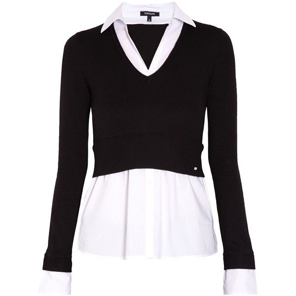 Cropped sweater over contrasting blouse. Wide V-neck shirt collar. Shirt  cuffs and bottom.