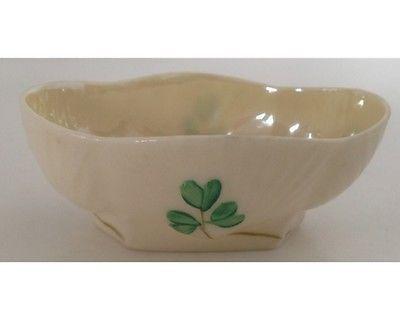 Mini Nut Dish 3rd Black Mark Belleek Salt Cellar Shamrock Bowl Four Leaf Clover