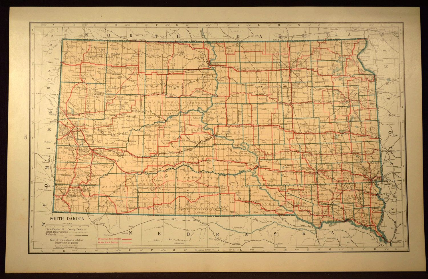 South Dakota Map LARGE South Dakota Road Map Highway Wall Art Decor ...
