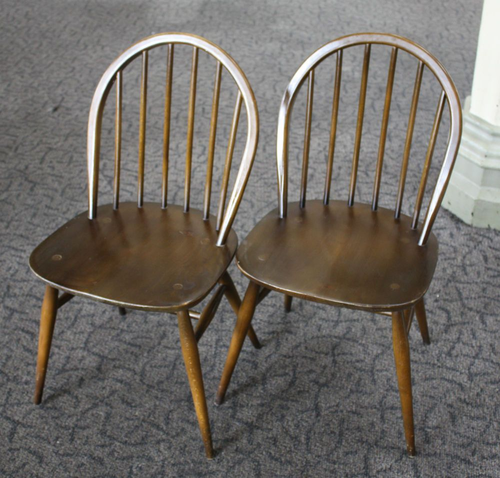 antique windsor dining chairs for sale. vintage ercol stick back windsor dining chairs (model 370)-dark finish-labels antique for sale