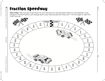 Here's a game for identifying equivalent fractions and