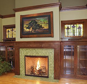 Arts and Crafts Fireplace with Jan Schmuckal painting. | Bungalow ...