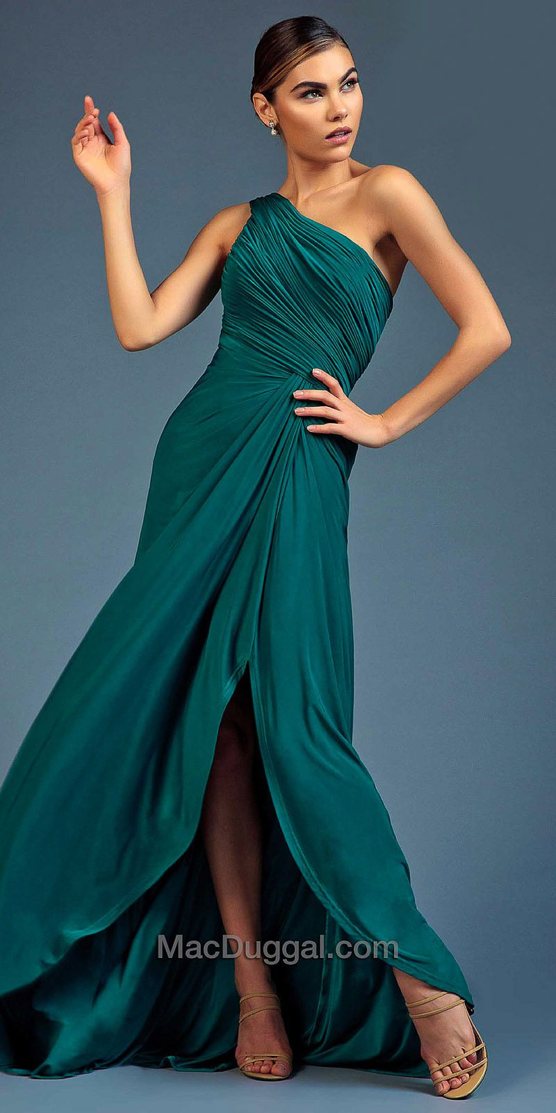 One Shoulder Ruched Evening Dress by Mac Duggal #edressme | NEW ...