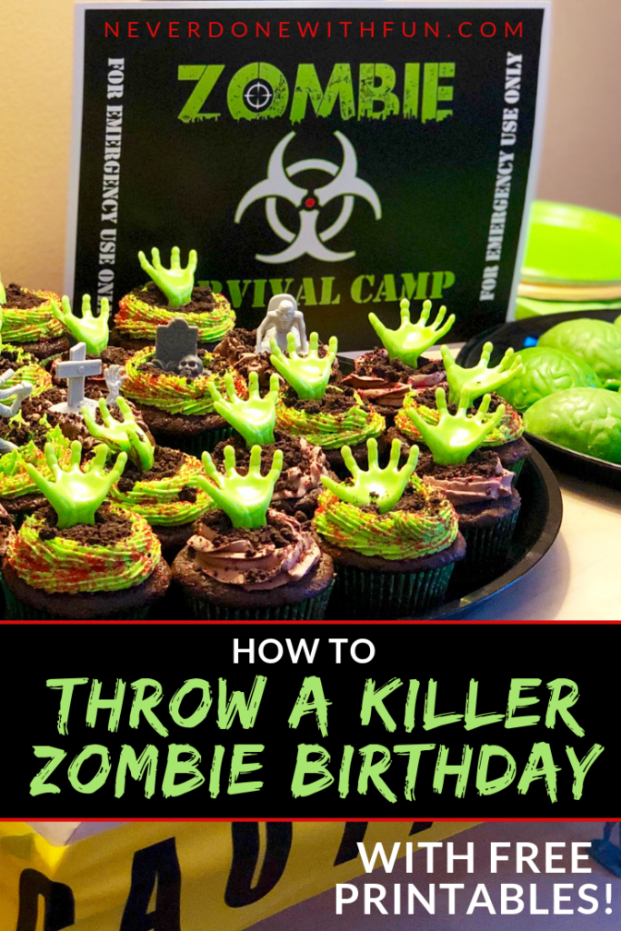 Zombie Apocalypse Theme Party Details: Kids Birthday Theme Walking Dead Viewing Party food, decor, printables, favors #zombie #party #walkingdead #zombieapocalypseparty