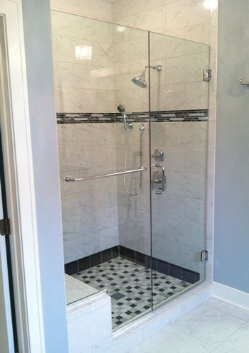 38 Heavy Glass Door And Panel With Through The Glass Towel Bar