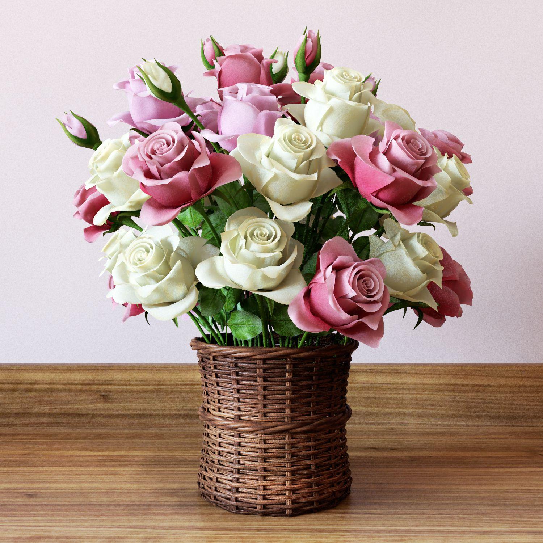 3d Model Basket With Roses Flower 3d Models Mastclick Flower Bud Flowers Rose
