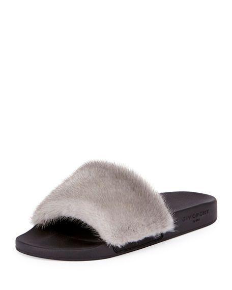 df27246d871 GIVENCHY Mink-Fur Flat Slide Sandal.  givenchy  shoes  flats ...