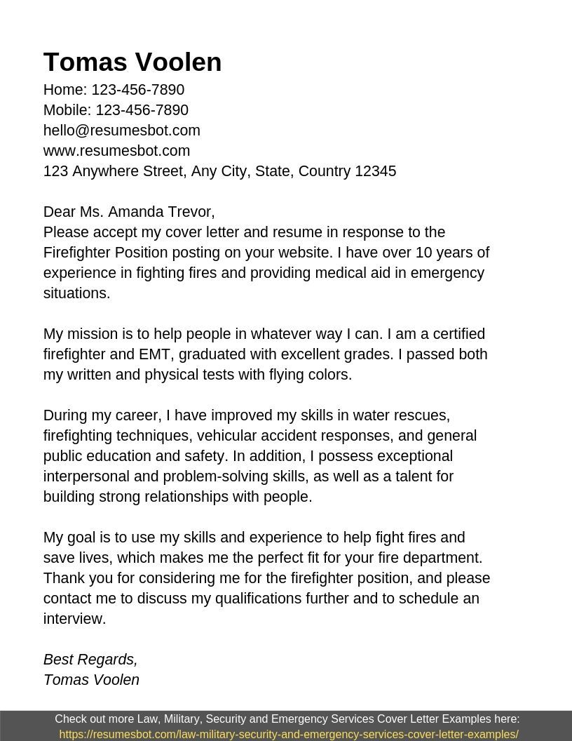 Firefighter Cover Letter Samples Templates Pdf Word 2019