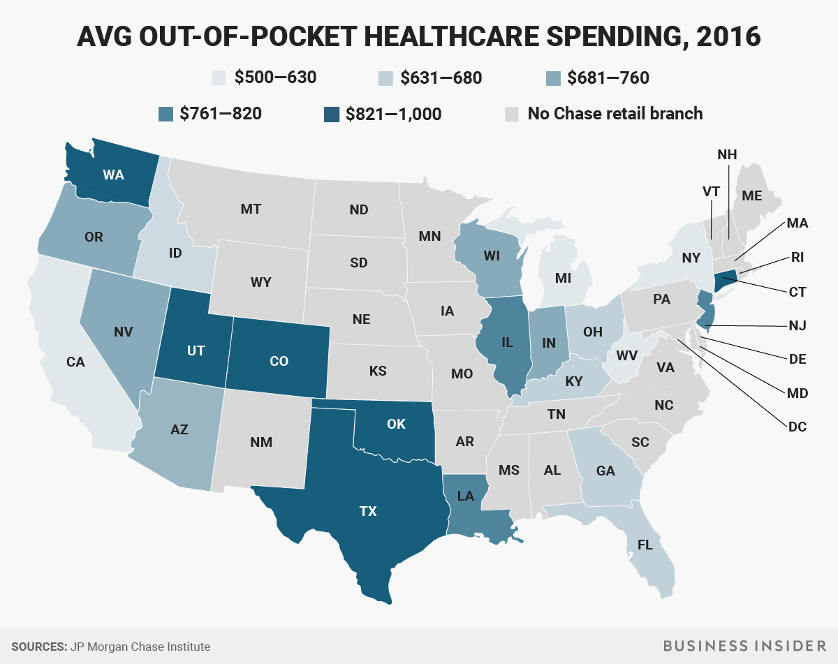 Healthcare Spending Out Of Pocket By State Business Insider Health Care Healthcare Costs Health Insurance