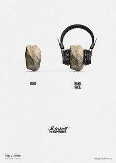 Viktor Kolodiazhnyi is rocking it with this oh-so-simple concept for Marshall Headphones and oh-so-effective series of print ads. Taking a rock and a metal ball, he adds earphones and transforms them into 'hard rock' and 'hard metal.'