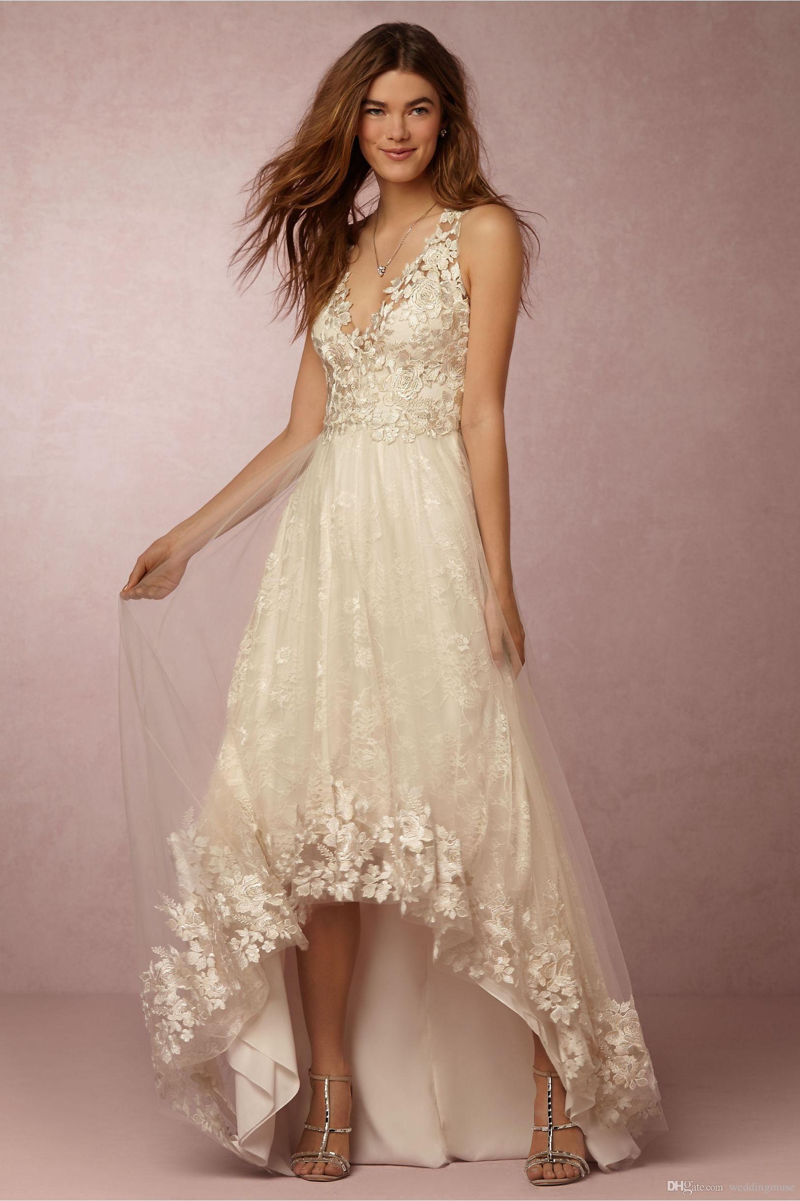 Discount full lace wedding dresses bhldn sexy v neck sleeveless