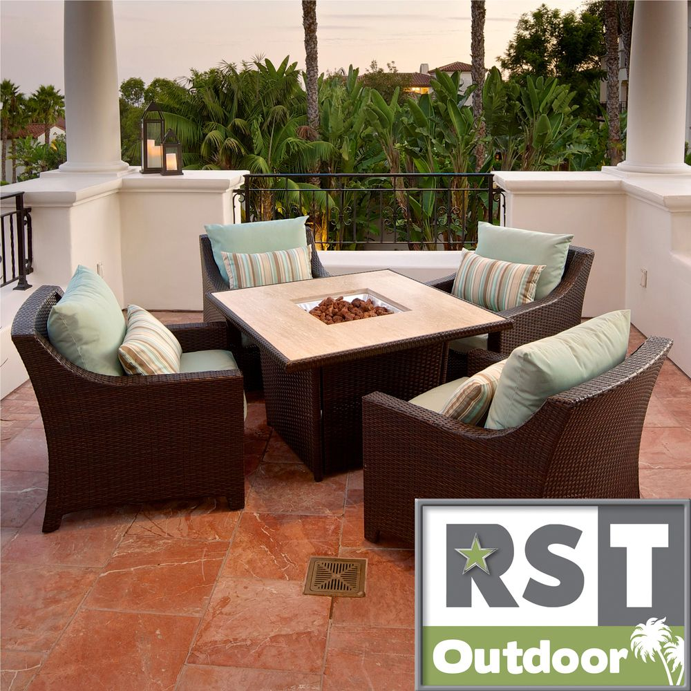 Bliss piece fire table seating set patio furniture by rst