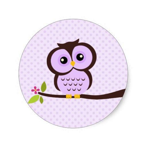 Cute purple owl sticker