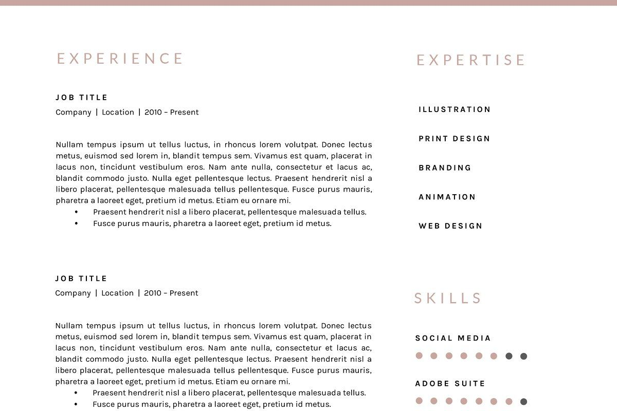 3 page resume template indd docx resume template