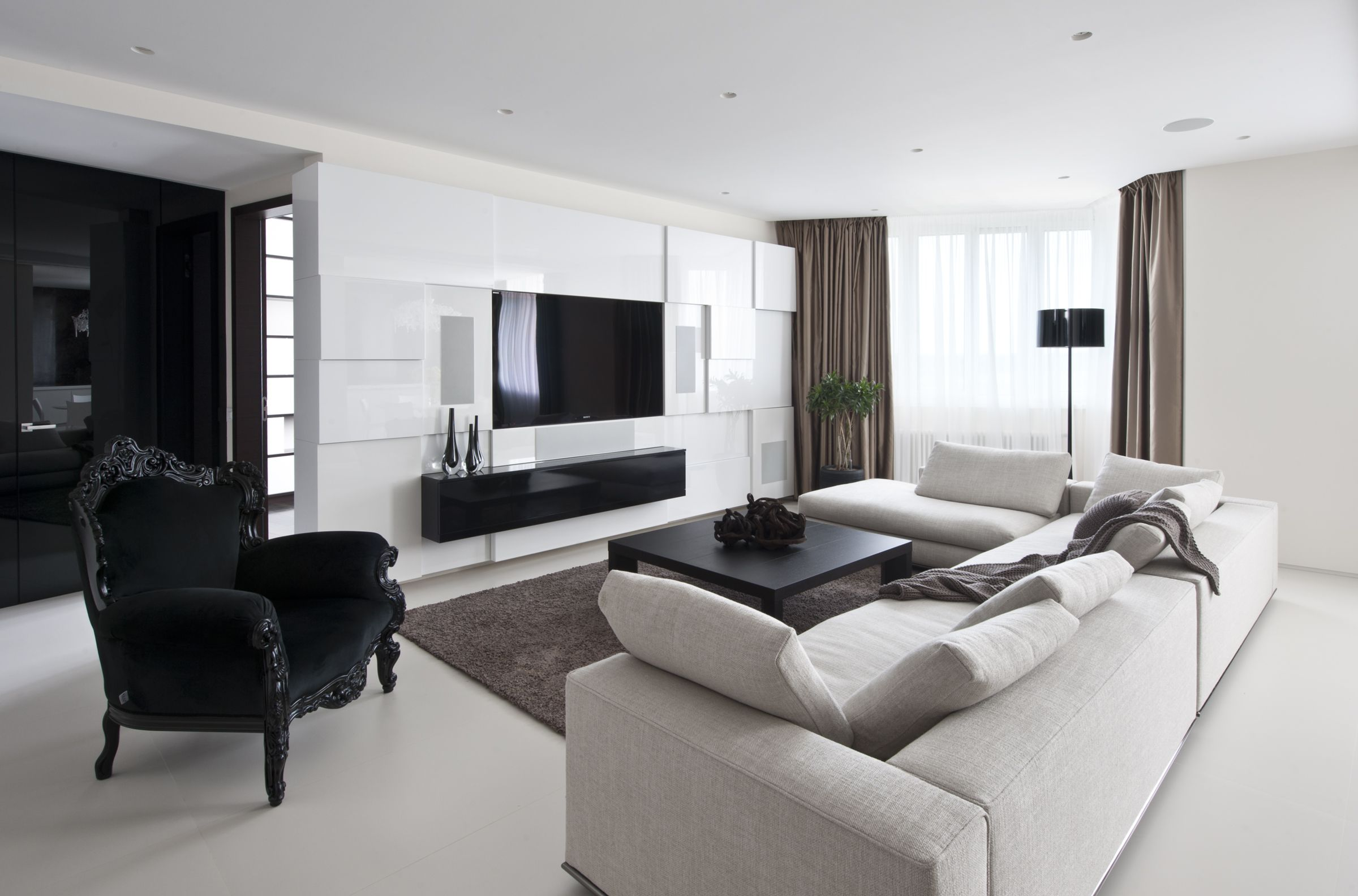 Modern Elegant Apartment Interiors In Moscow Phong Khach Tối