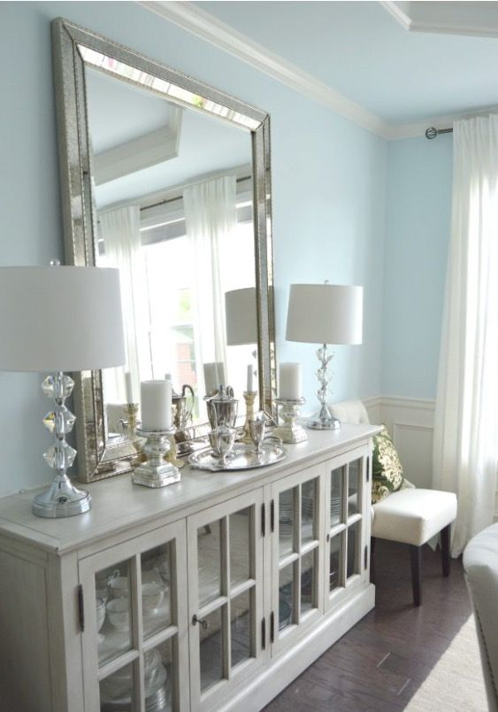 Love The Big Mirror Restoration Hardware French Casement Cabinet In Dining Room With Buffet Lamps And Vertical Leaning
