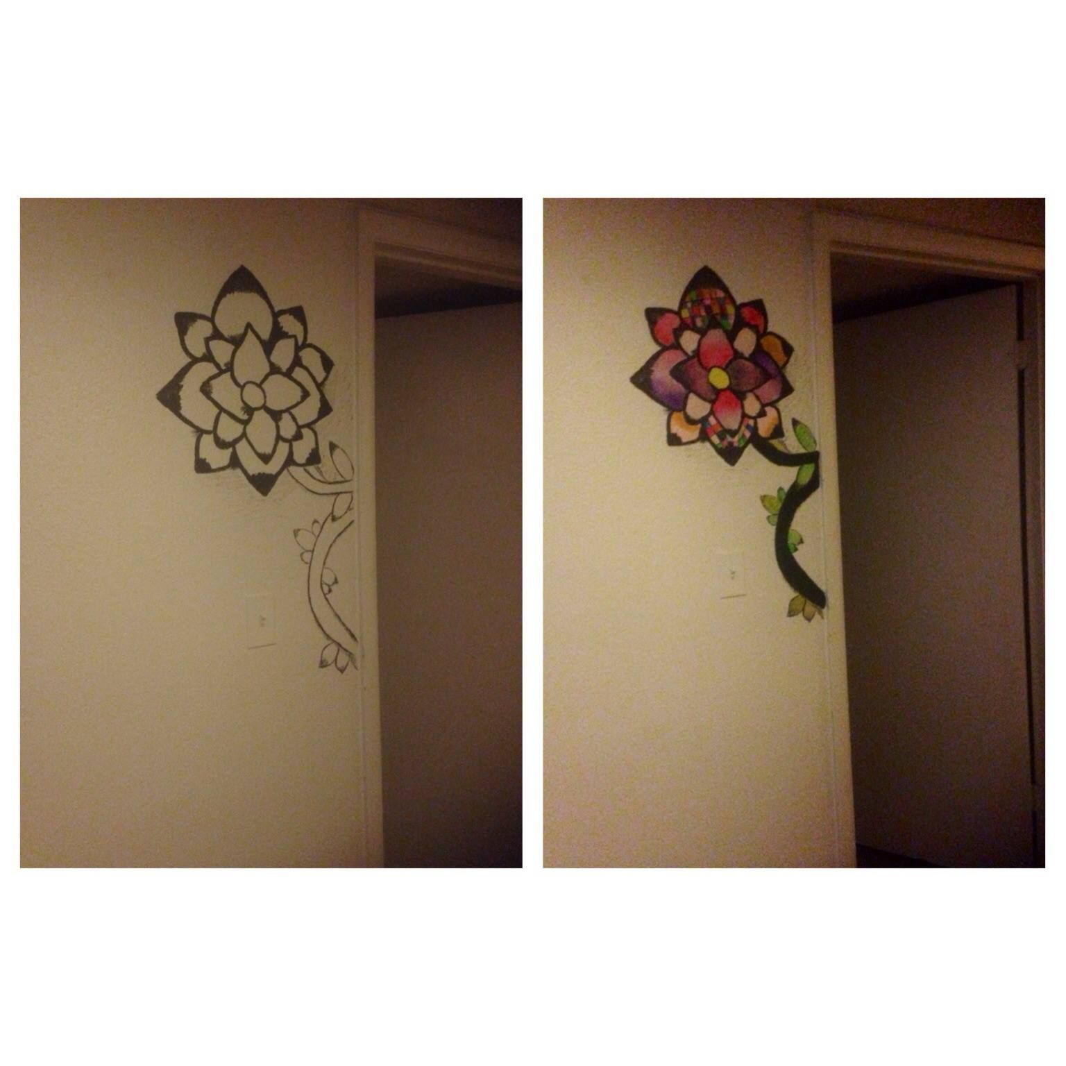 So I decide to paint a flower next to my sons room door ! Came out pretty good !