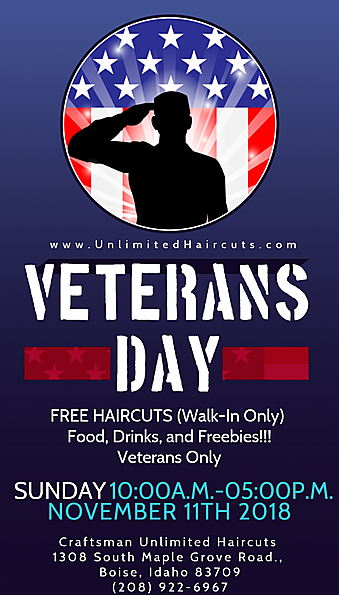 New Veteran Owned Business Directory Member Craftsman Unlimited Haircuts Is Offering Free Haircuts Veterans Day Discounts Free Haircut Veteran Owned Business