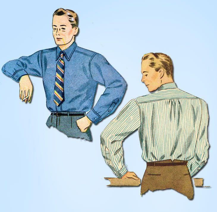 1940s Vintage Simplicity Sewing Pattern 4138 WWII Uncut Men's Dress Shirt Sz 38C