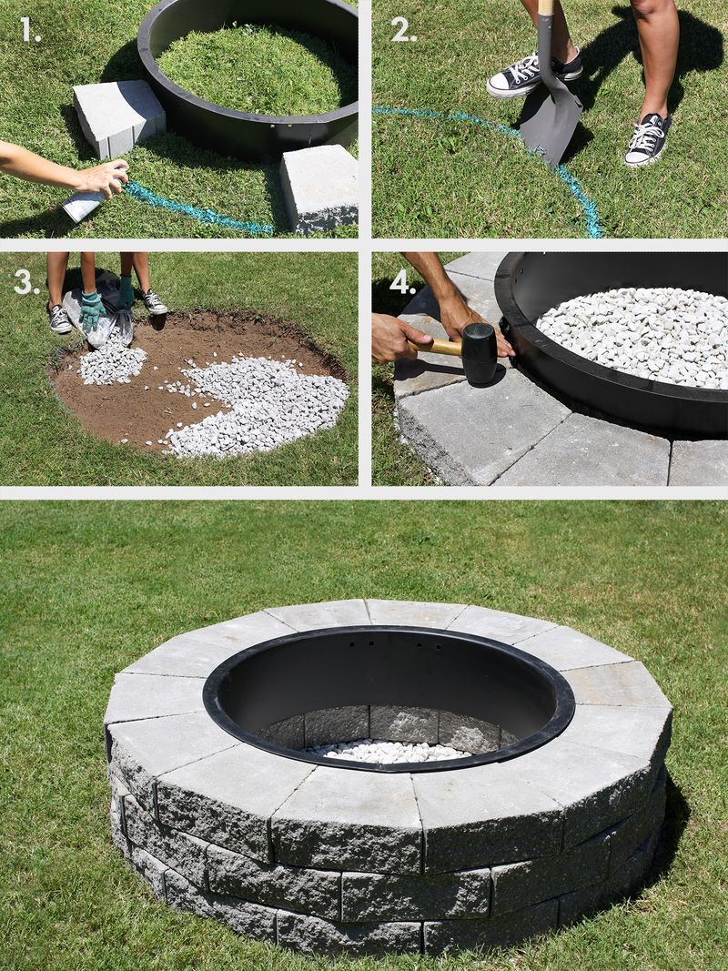 This would be great for the backyard! Firepit in 4 easy steps (click  through for tutorial) - Make Your Own Fire Pit In 4 Easy Steps DIY&crafts Backyard, Diy