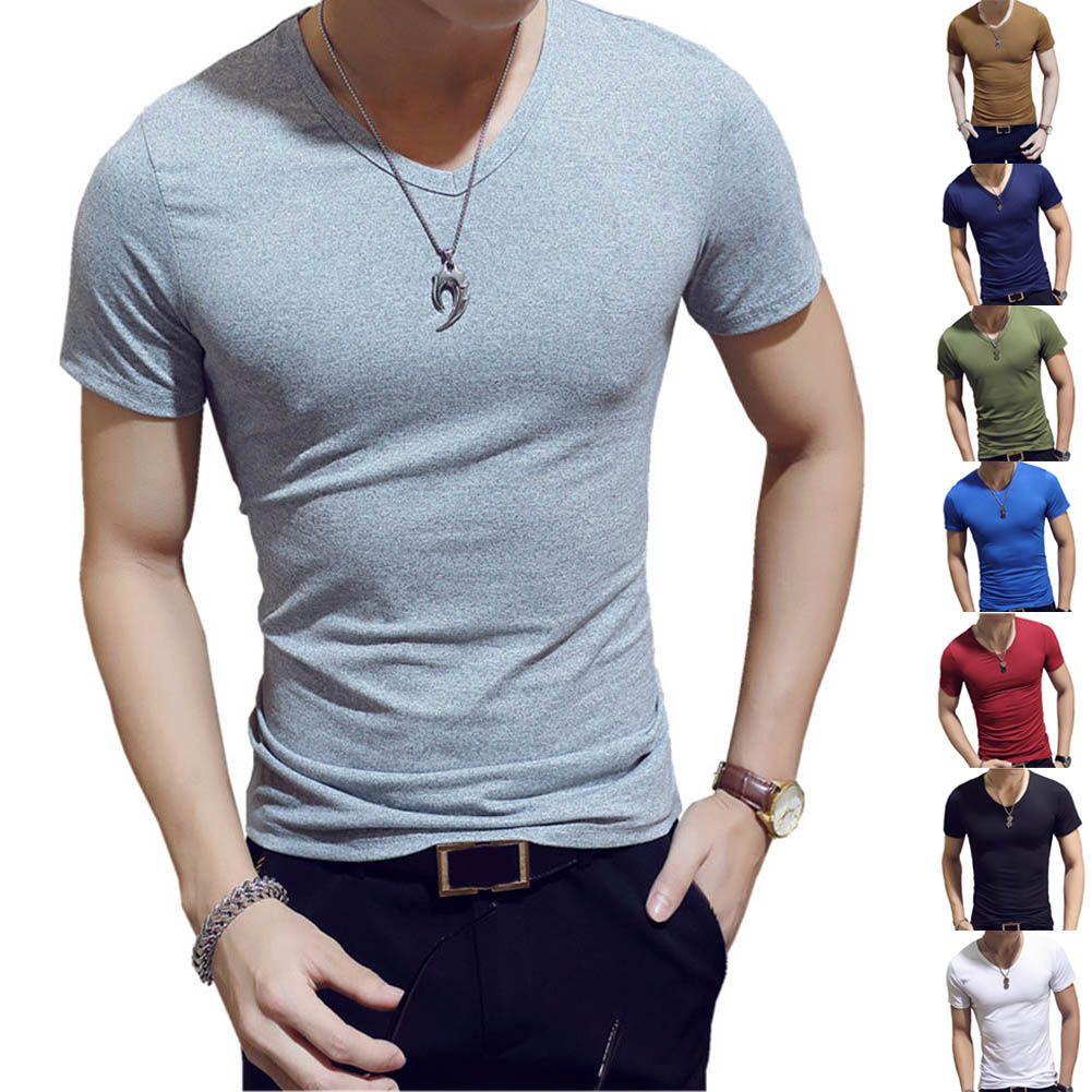 Korean Summer Men T Shirt Short Sleeve V Neck Solid Color Tops 2018