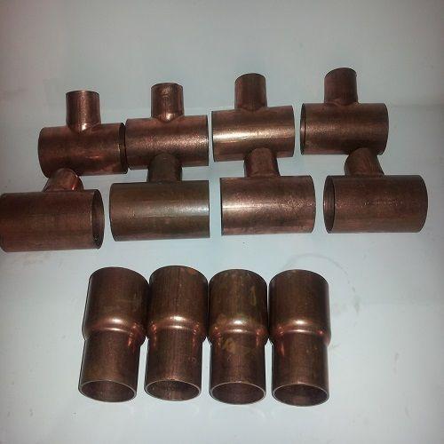 "Lot of 12 Sweat Copper Tee (8) 1""x1""1/2x1""1/2 (4) Reducers 1""1/2x1''1/4"