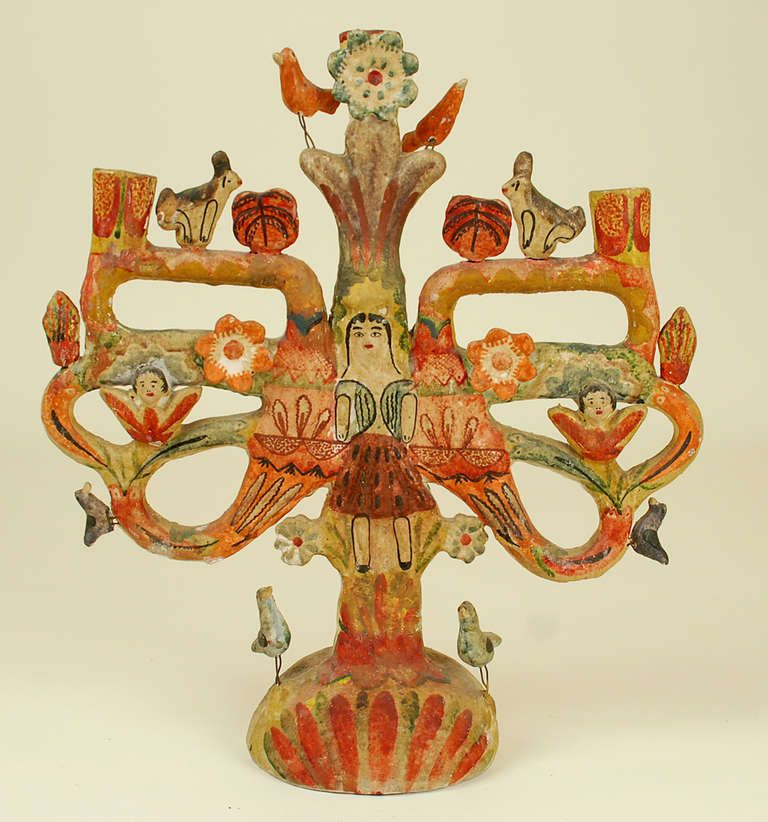 Vintage mexican tree of life candelabrum by aurelio flores for Mexican arts and crafts for sale