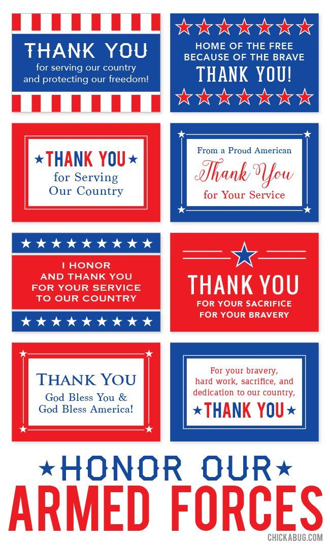 """Free printable """"Honor Our Armed Forces"""" cards 