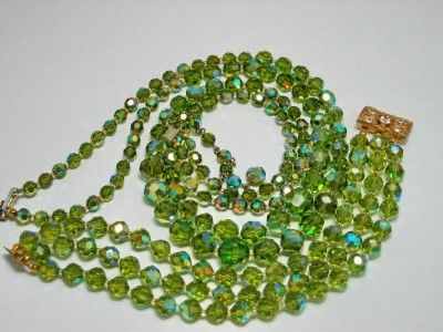 Vintage Green, Faceted AB Glass Crystal Necklace, Bracelet Parure, Set