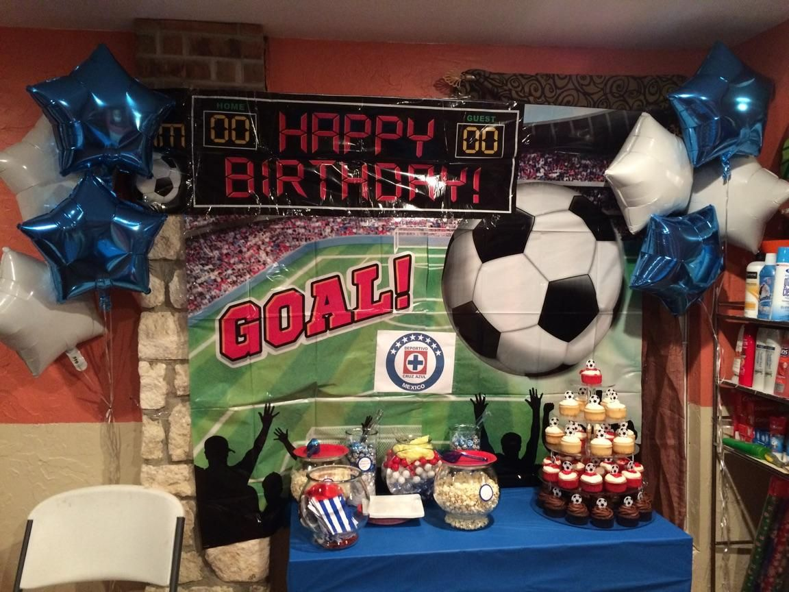 cruz azul soccer birthday party decorations backdrop scenery purchased from party city candy buffet cruz - Party City Decorations