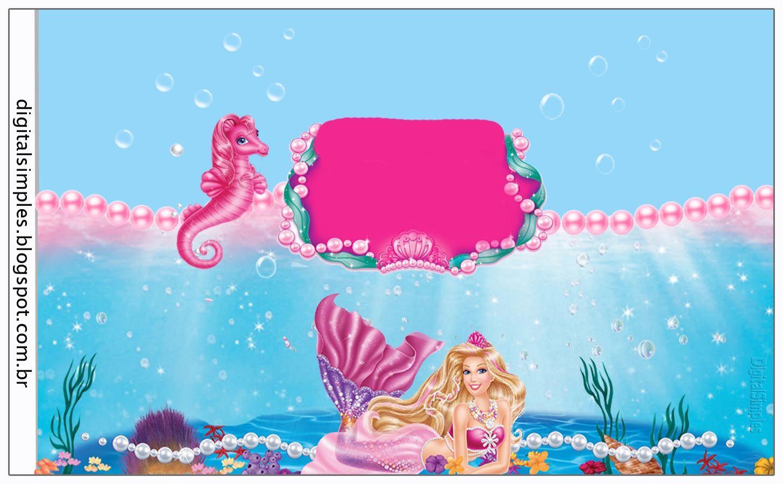 Kit Personalizado Tema Barbie Sereia Das Perolas Convites Digitais Simples Barbie Sereia Barbie Decoracao Barbie