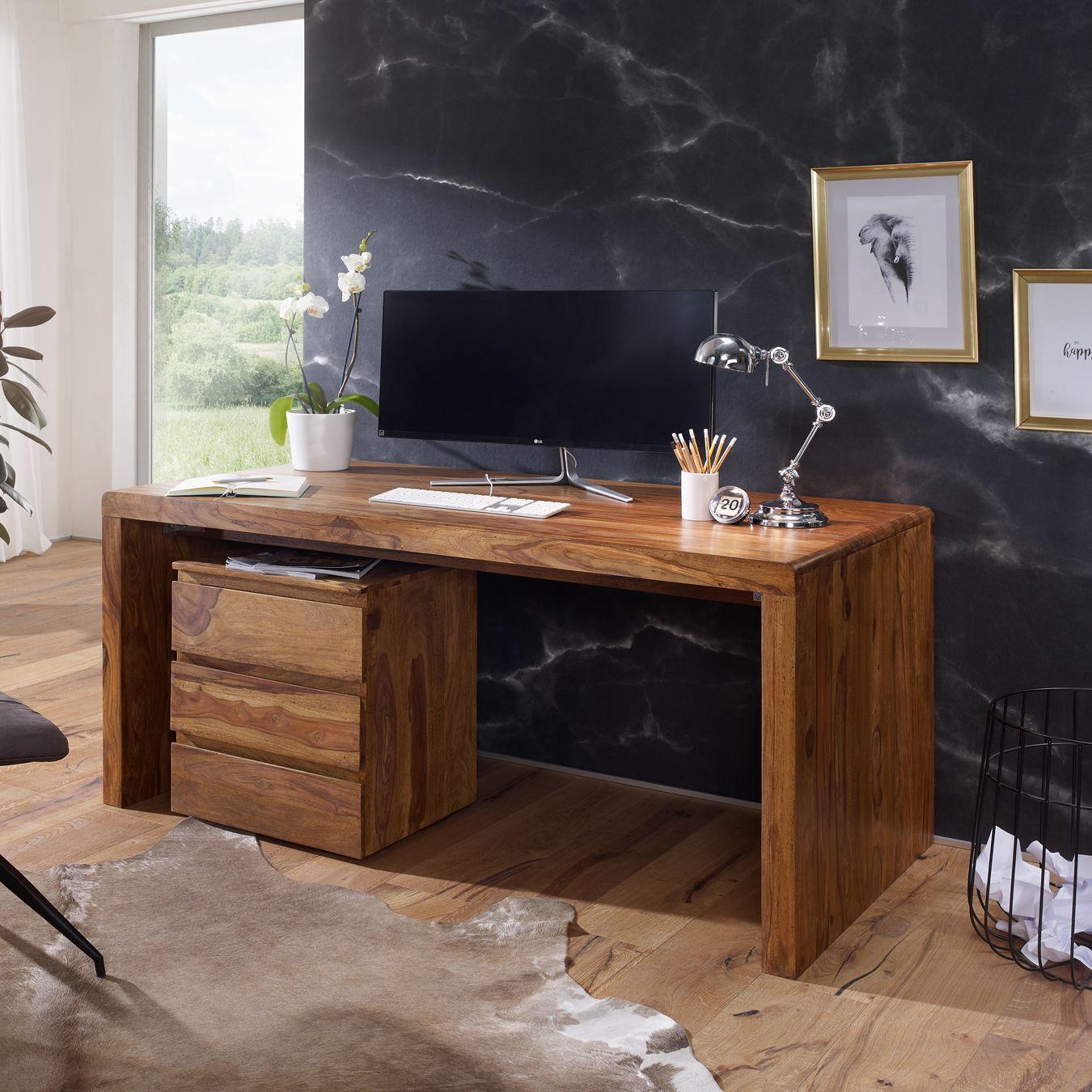 Schreibtisch Massiv Holztisch Sheesham Palisander Buro Arbeitszimmer Tisch Mit Bildern Design Schreibtisch Schreibtisch Holztisch