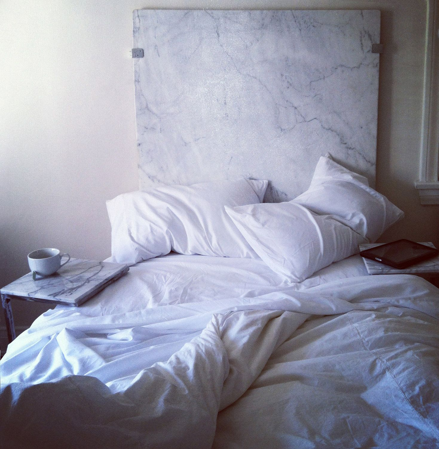 Industrial Salvaged White Carrara Marble Headboard By