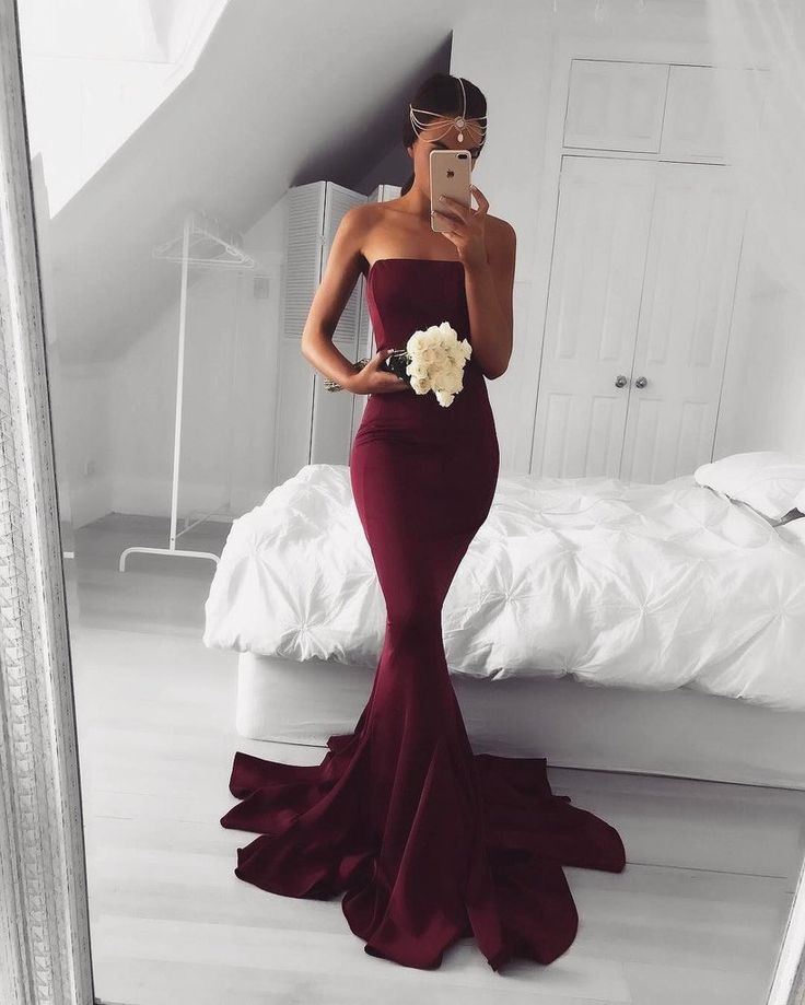 Strapless Maroon Mermaid Evening Prom Dresses Long Simple Party SposaDesses