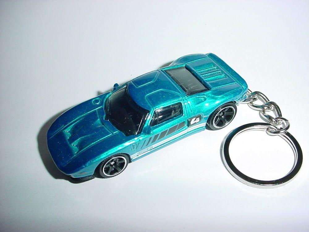 New D Electric Blue Ford Gt  Custom Keychain Keyring Key Gt Race Speed Gear