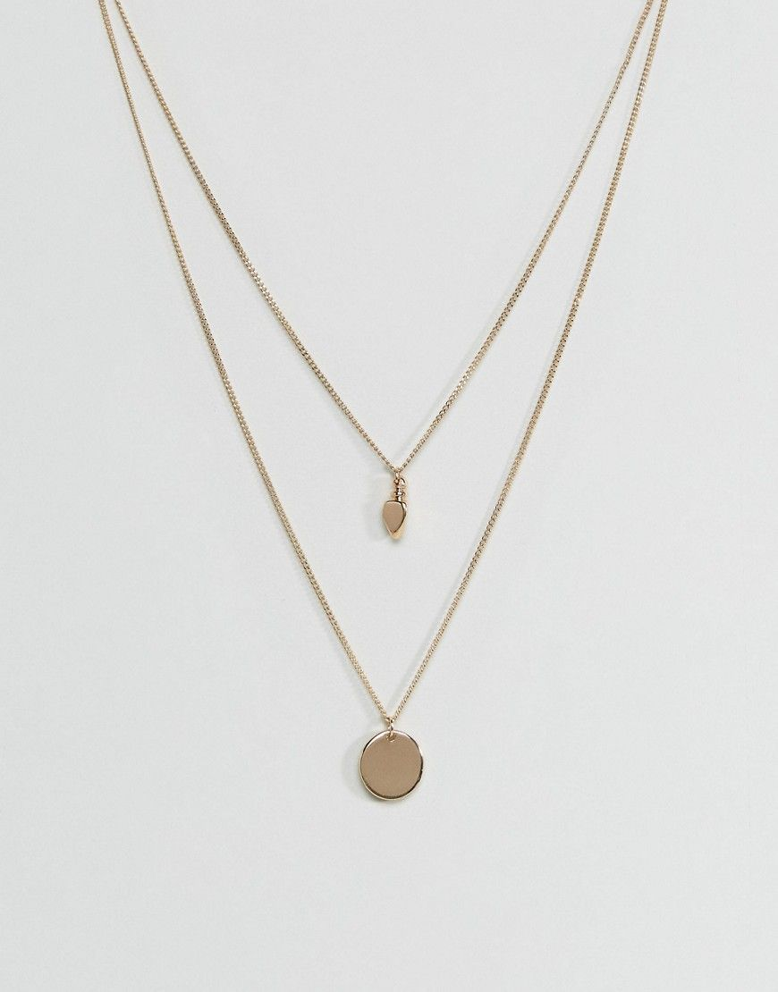 Asos sleek disc and gold nugget multirow necklace gold products