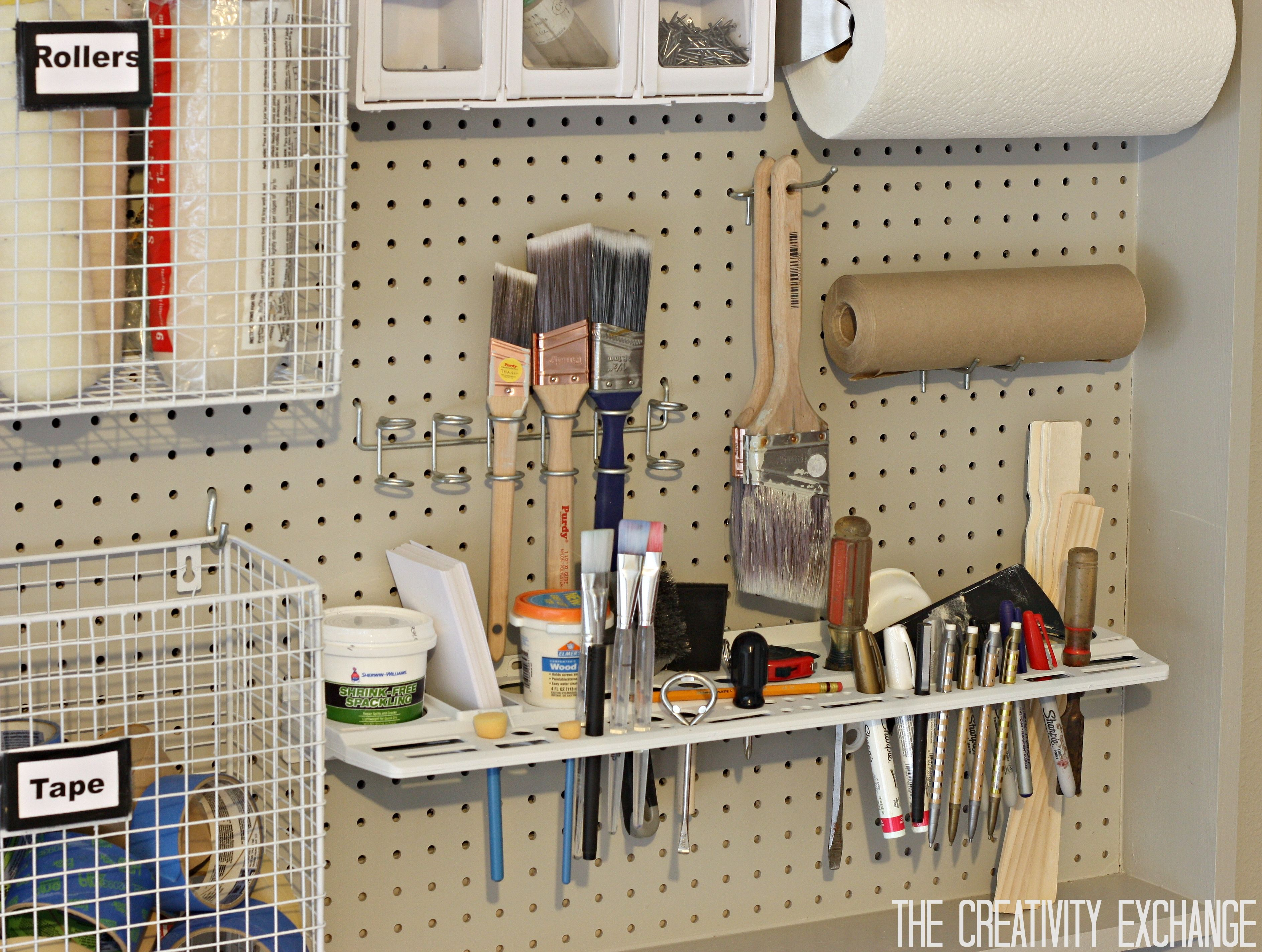 Organizing The Garage With Diy Pegboard Storage Wall Pegboard Storage Home Depot Garage Storage Storage Room Organization