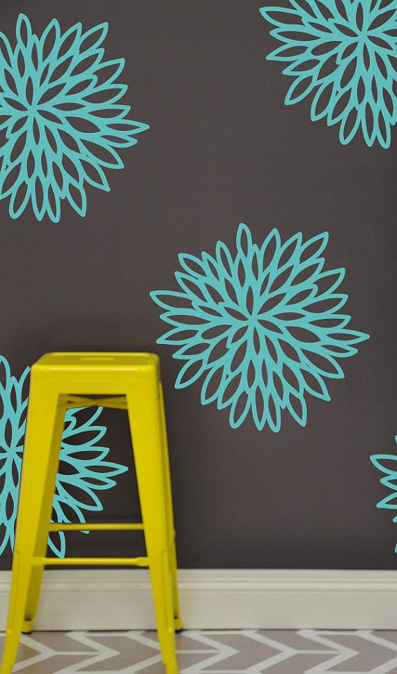Floral Starburst WALL DECAL Flower Wall Sticker By TheLovelyWall - Custom vinyl wall decals flowers