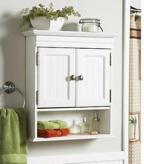 White Cottage Style Bathroom Wall Cabinet Storage Shelf Double