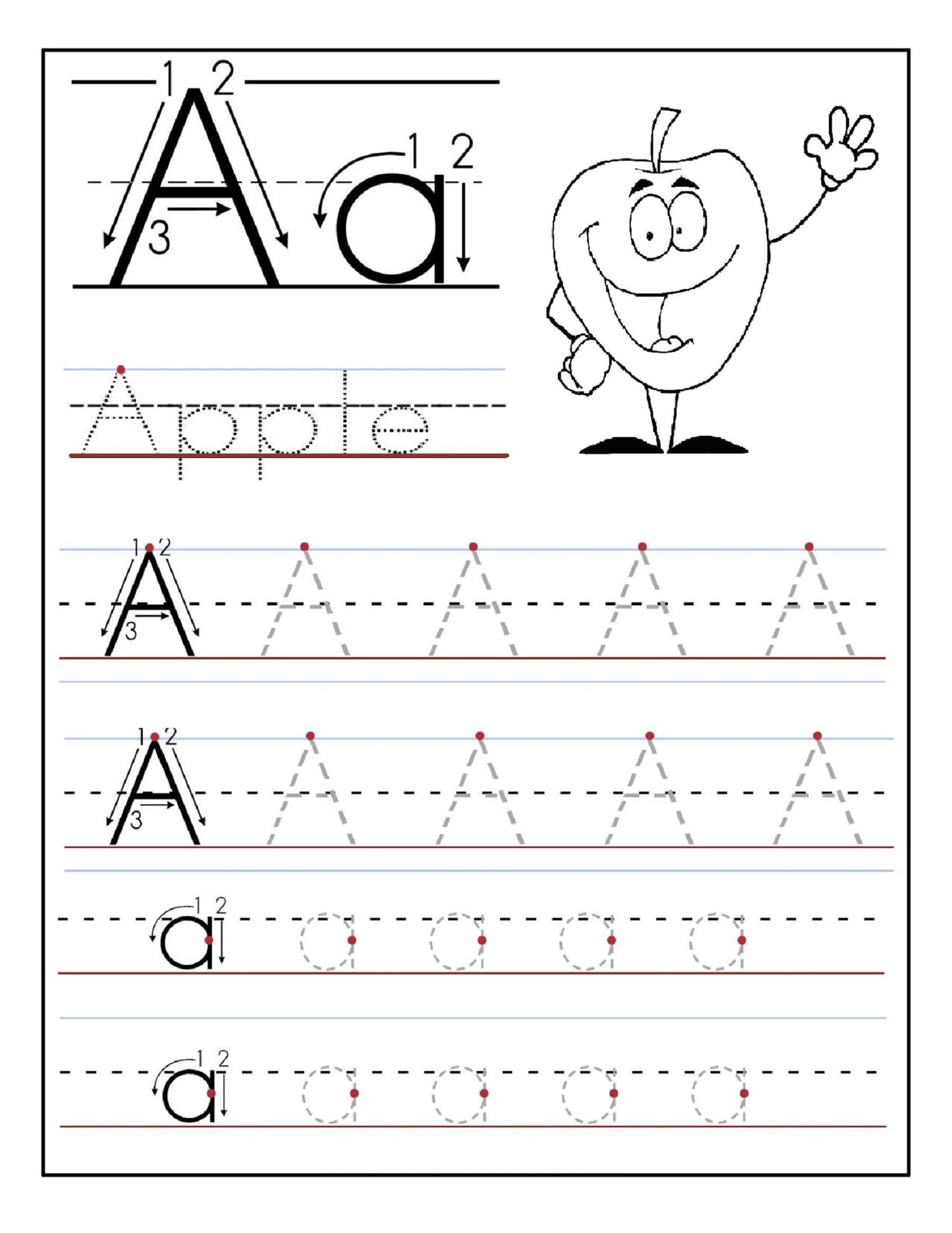 Tracing The Letter A For First Writing Learning Dear Joya – Writing Letters Worksheets for Kindergarten