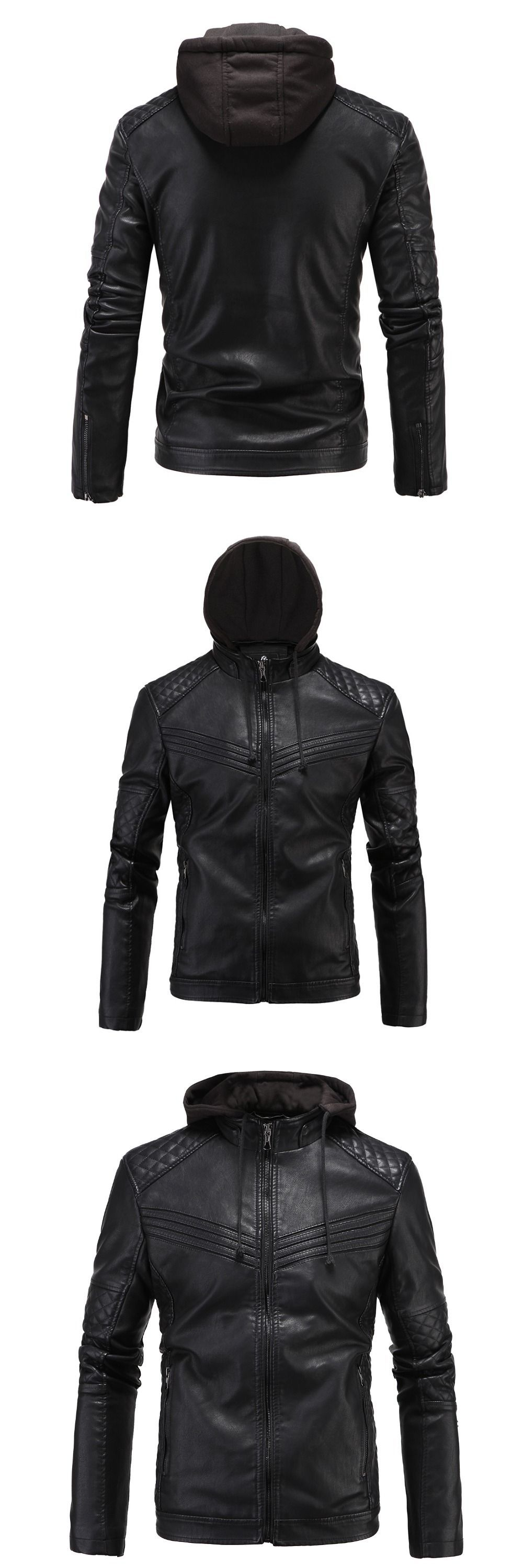Black PU leather motorcycle jacket bestselling mens