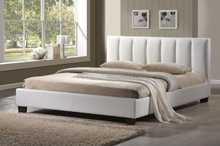 pulsar white faux leather bed frame