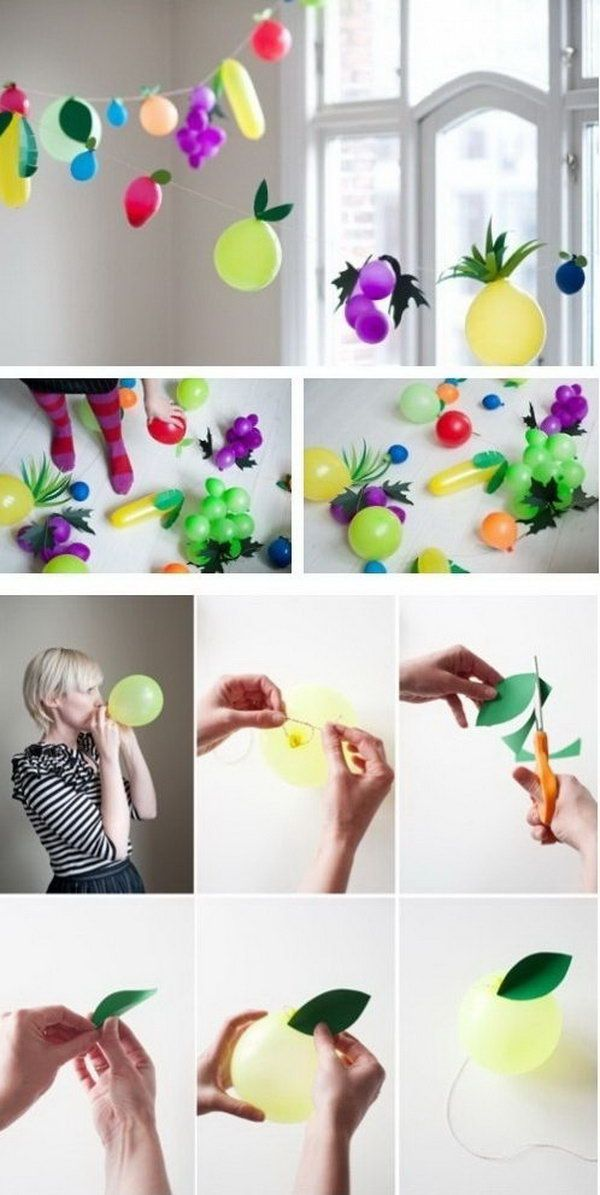 Fruit Balloon Party Idea. DIY your fruit balloon by putting together fruit balloon of various colors and tape the leaf. You can create the 3D effect by creasing the leaf. It's so fantastic to decorate your party with this fruit flavor balloon garland. http://hative.com/creative-party-ideas/