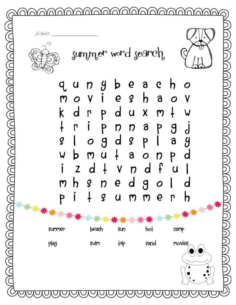 1st Grade Word Search - Best Coloring Pages For Kids ...