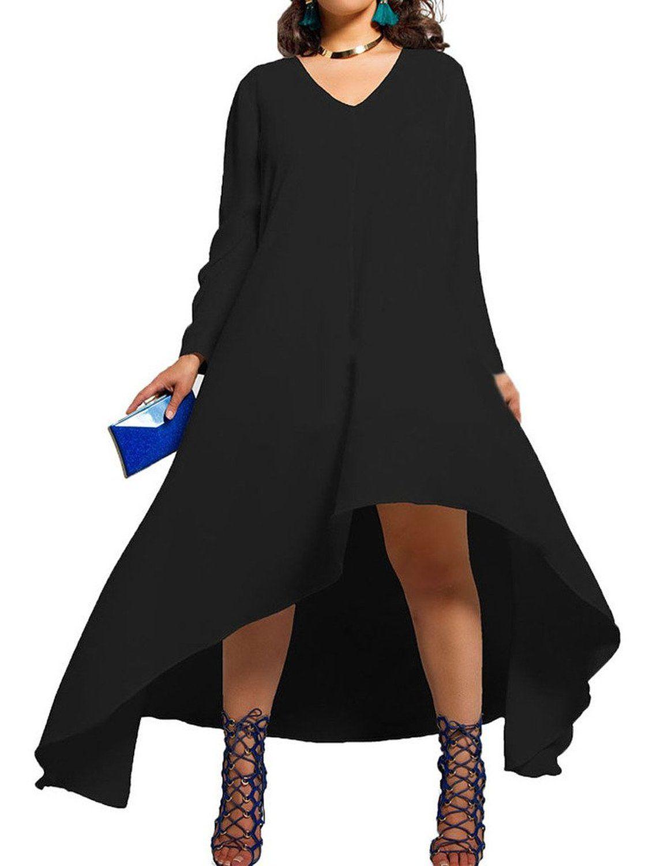 Clothink women black and green v neck long sleeve asymmetric hem